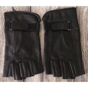 Other - Leather Fingerless Open Finger Motorcycle Gloves
